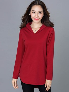 Ericdress V-Neck Plain Plus Size T-Shirt