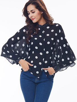 Ericdress flare Sleeve Polka Dots Blouse