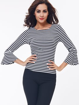 Ericdress Stripe Flare Sleeve Knitwear