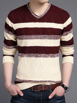 Ericdress Color Block V-Neck Pullover Men's Sweater