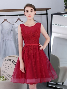 Ericdress a-line Scoop Applikationen Schärpen kurze Heimkehrkleid