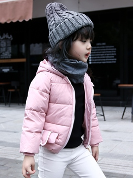 Ericdress Hooded Ears Patch Pockets Girls Outerwear
