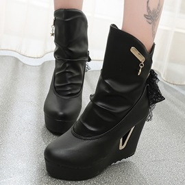 Ericdress Sweet PU Lace-Up Elevator Heel Ankle Boots