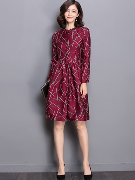 Ericdress Print Single-Breasted Pleated Casual Dress