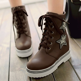 Ericdress Simple Star Print Lace up Ankle Boots