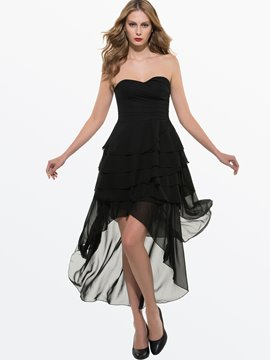Ericdress Black Euramerican Elegant Long Style Chiffon Strapless Dress