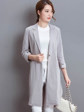 Ericdress Solid Color Straight Trench Coat