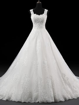 Ericdress Elegant Straps Appliques Ball Gown Wedding Dress