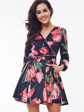 Ericdress Flower Print V-Neck Lace-Up Casual Dress