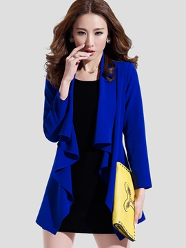 Ericdress Solid Color Frill Trench Coat Suit