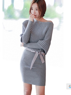 Ericdress Plain Batwing Sleeve Bowknot Sweater Dress
