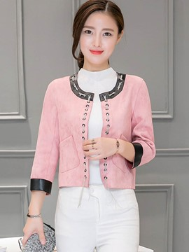 Ericdress Color Block Loose Lace-Up Jacket