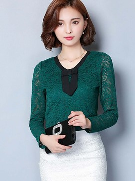 Ericdress Lace Panel Tie Detail Blouse