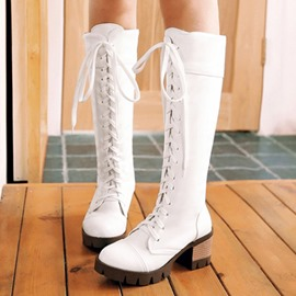 Ericdress Lovely Girl Lace up Knee High Boots