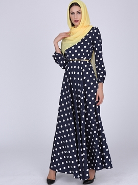 Ericdress Polka Dots Long Sleeve Maxi Dress