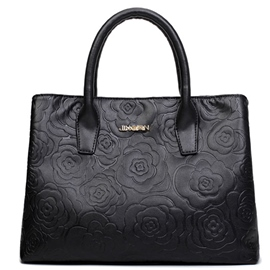 Ericdress Solid Color Rose Embossed Handbag