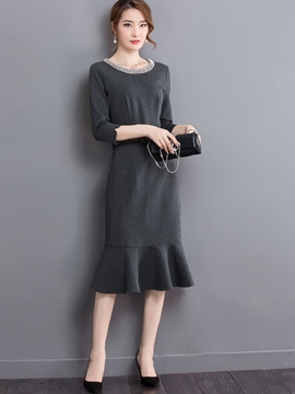 Ericdress Solid Color Patchwork Three-Quarter Sleeve Sheath Dress