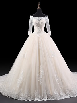 Ericdress Elegant Off The Shoulder Appliques Half Sleeves Wedding Dress