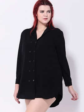 Ericdress Black Double Breasted Blouse