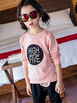 Ericdress Letter Printed Pure Tee Foot Beam Two-Piece Girls Outerwear