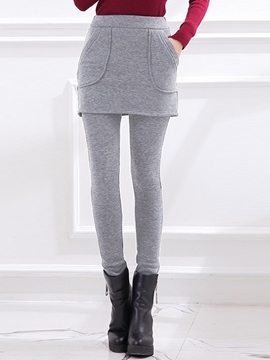 Ericdress Solid Color Double-Layer Leggings Pants