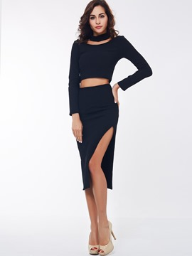 Ericdress Solid Color Split Skirt Suit