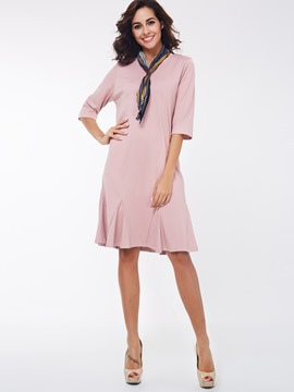 Ericdress Three-Quarter Sleeve Plain Casual Dress