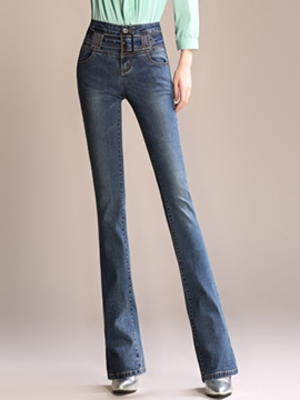 Ericdress Solid Color Flared Jeans