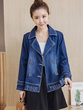 Ericdress Loose Double-Breasted Polo Denim Outerwear