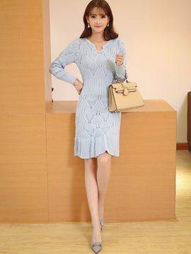 Ericdress Plain Mermaid Sweater Dress