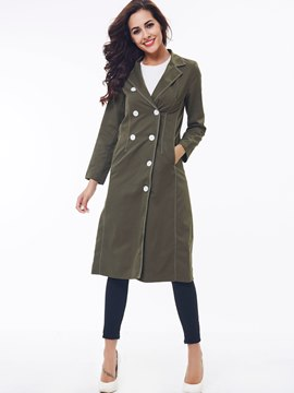 Ericdress Slim Solid Color Asymmetric Trench Coat