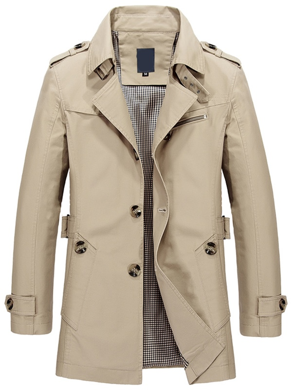 Ericdress Plain Lapel Single-Breasted Vogue Men's Trench Coat