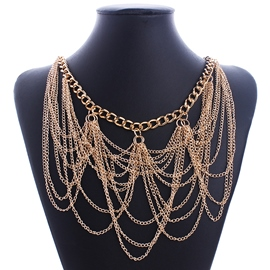 Ericdress Gold Chain Tassels Necklace