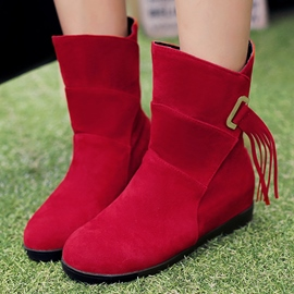 Ericdress Round Toe Slip-On Tassels Decorated Ankle Boots