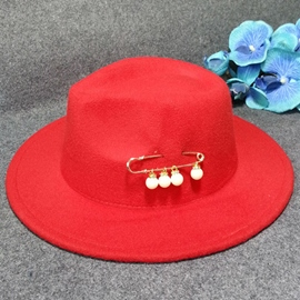 Ericdress Pearl Brooch Decorated Wool Blends Hat