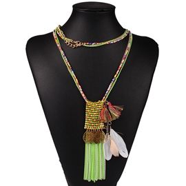 Ericdress Long Feather Tassel Beads Necklace