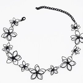 Ericdress Double Layers Metal Flower Necklace