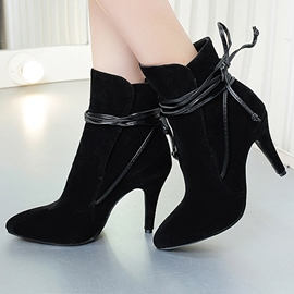 Ericdress Modern Suede Point Toe Lace up High Heel Boots