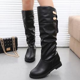 Ericdress Simple Solid Color Lace-Up Knee High Boots