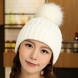 Ericdress Pompon Decorated Pure Color Knitted Hat