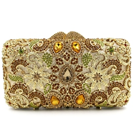 Ericdress Hollow Diamante Golden Flower Evening Clutch