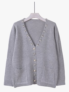 Ericdress Gray Bead Cardigan Knitwear