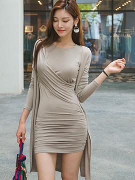 Ericdress Solid Color Pleated Dress Suit