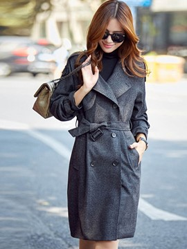 Ericdress Solid Color Double-Breasted European Trench Coat
