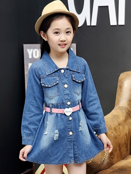 Ericdress Bead Frayed Destroy Large Lapel Collar Belt Girls Dress