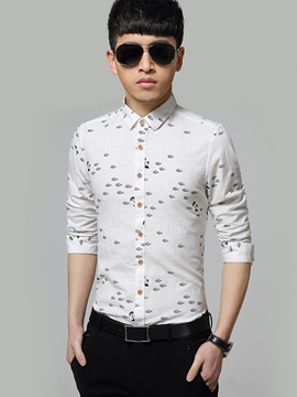 Ericdress Cotton Blends Slim Fit Men's Shirt