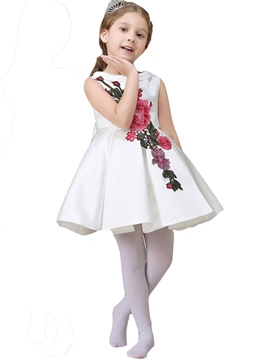 Ericdress Lapel Collar Floral Embroidery Belt Pleated Girls Dress