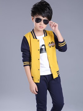 Ericdress Letter Printed Color Block Two-Piece Boys Outfit