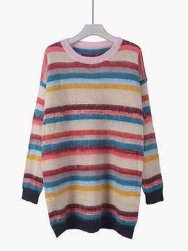 Ericdress Colorful Strpe Pullover Knitwear