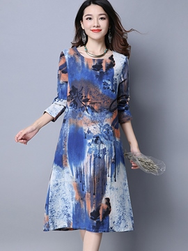 Ericdress Print Round Neck A-Line Casual Dress